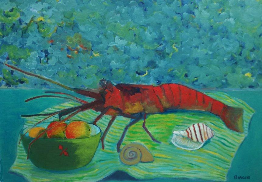 Composizione con aragosta Olio su tela 50x70 Anno 2008