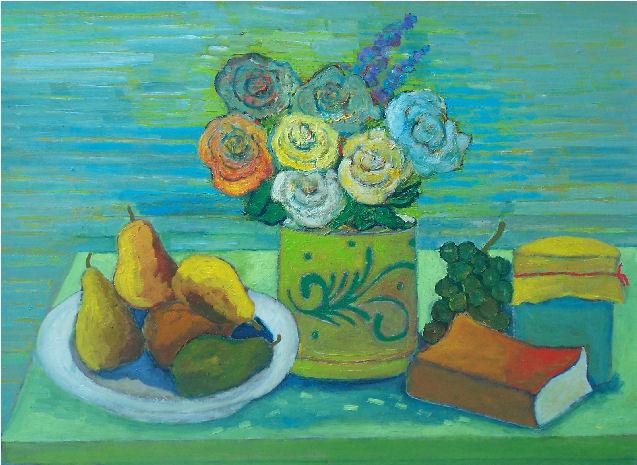 Composizione fondo a strisce - Olio su cartone 60x70 Anno 2011 Coll. Privata
