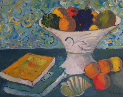 Frutta e conchiglia - Olio su cartone 40x50 Anno 2010
