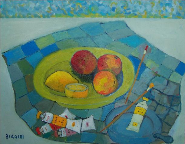Composizione con tubetti di colore - Olio su cartone 40x50 Anno 2012
