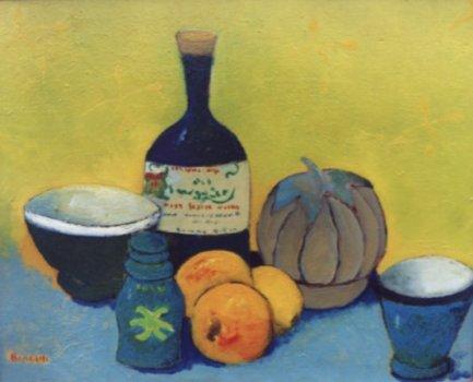 Natura morta con bottiglia - Olio su compensato 40x50 Anno 1997 Coll. Privata