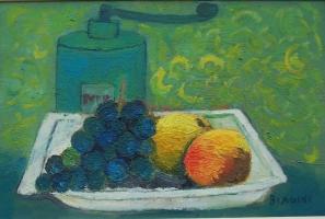 Macinino pepe e frutta Olio su cartone 20x30 Anno 2016
