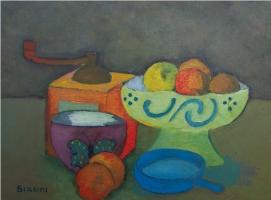 Composizione con macinacaffè - Olio su cartone 30x40 Anno 2012