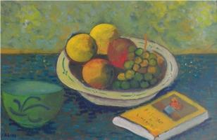 Composizione con tazza e piatto frutta - Olio su cartone 40x60 Anno2010