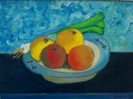 Piatto con frutta Olio su cartone 30x40 Anno 2010 Coll. Privata