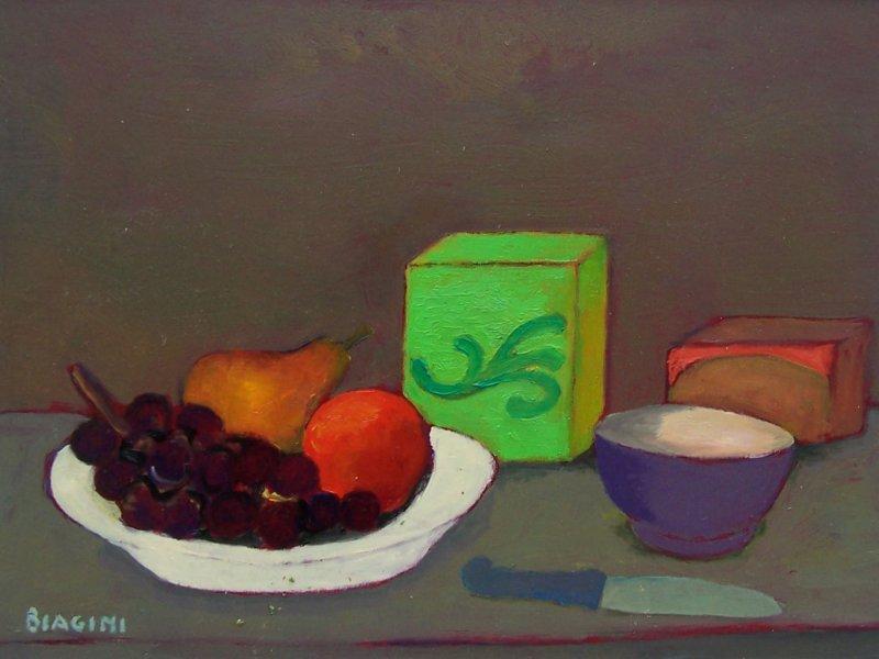 Natura morta con scatola verde e uva Olio su cartone 30x40 Anno 2004 Coll. Privata