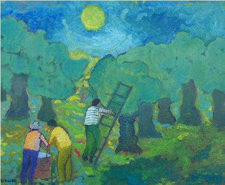 Raccolta delle olive- Olio su cartone  Anno 2006  Coll. Privata