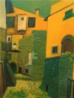 Vicolo del Castello - Olio su compensato 60x80  Anno 1997  Proprietà Comune  di Castagneto Carducci